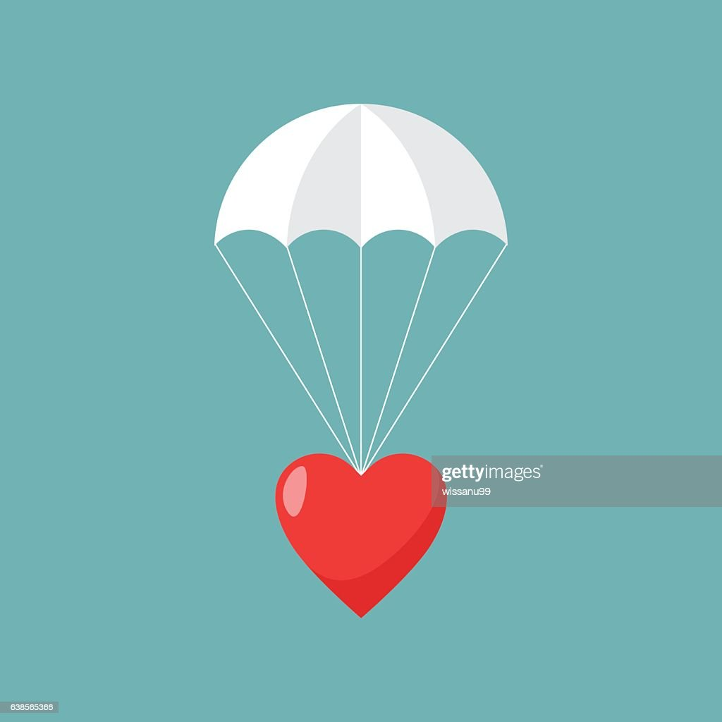 Parachute with heart, Concept of sending love.