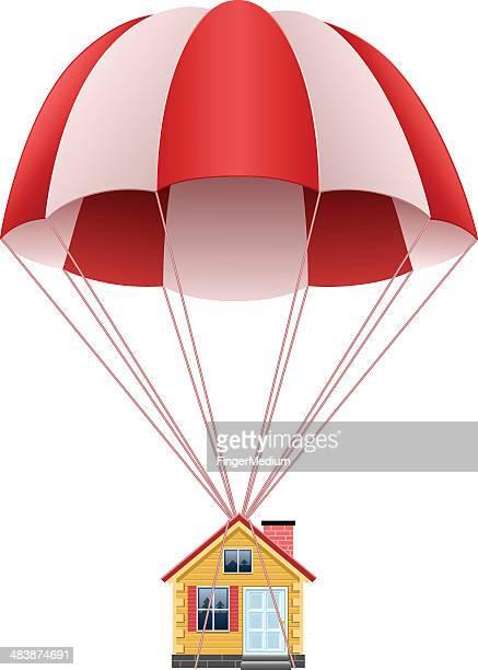 parachute mit house - fallschirm stock-grafiken, -clipart, -cartoons und -symbole