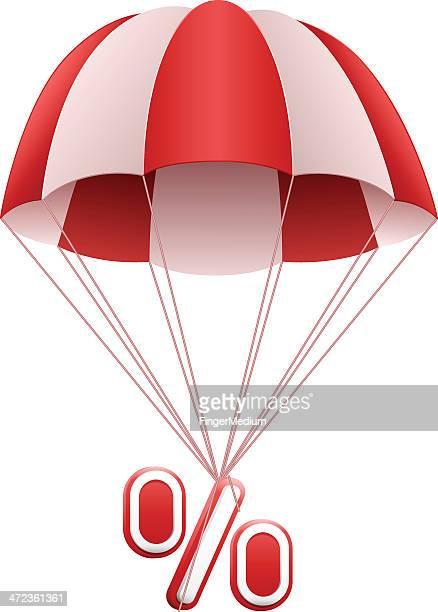 illustrations, cliparts, dessins animés et icônes de parachute avec signe pourcentage - saut en parachute
