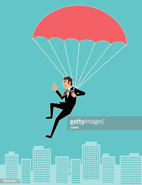 illustrations, cliparts, dessins animés et icônes de parachutisme businessan - saut en parachute
