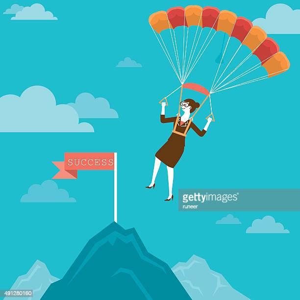Parachuting Businesswoman Landing on Mountain Peak | New Business Concept
