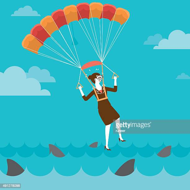 parachuting businesswoman on shark infested water   new business - infestation stock illustrations, clip art, cartoons, & icons
