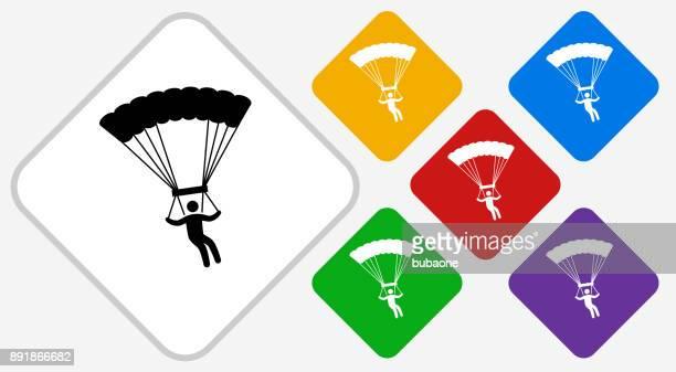 Parachuting Color Diamond Vector Icon