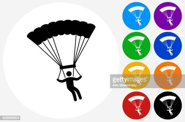 illustrations, cliparts, dessins animés et icônes de parachuting icon on flat color circle buttons - saut en parachute