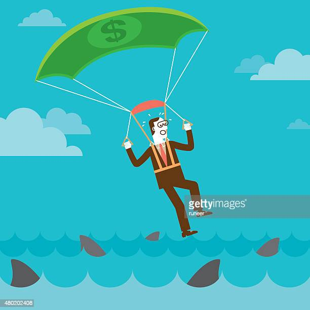 parachuting investor on shark infested water   new business concept - infestation stock illustrations, clip art, cartoons, & icons