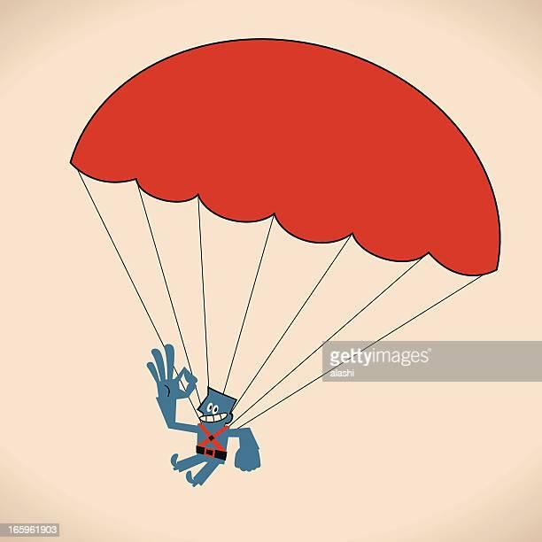 illustrations, cliparts, dessins animés et icônes de parachutisme homme - saut en parachute