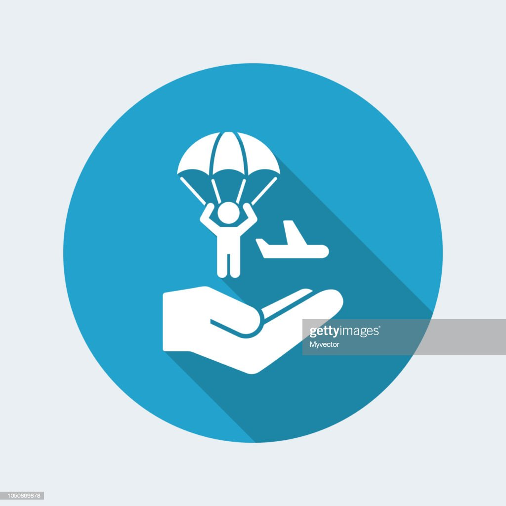 Parachutist jumping from the airplane - Minimal icon