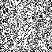 Paradise Bird in magic garden. Hand drawn seamless pattern.