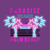Paradise dreamer, palm beach slogan. Neon palm and sun. Rock and roll patch. Typography graphic print, fashion drawing for t-shirts .Vector stickers,print, patches vintage