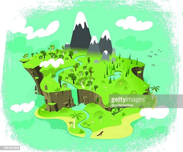 paradise - waterfall stock illustrations, clip art, cartoons, & icons