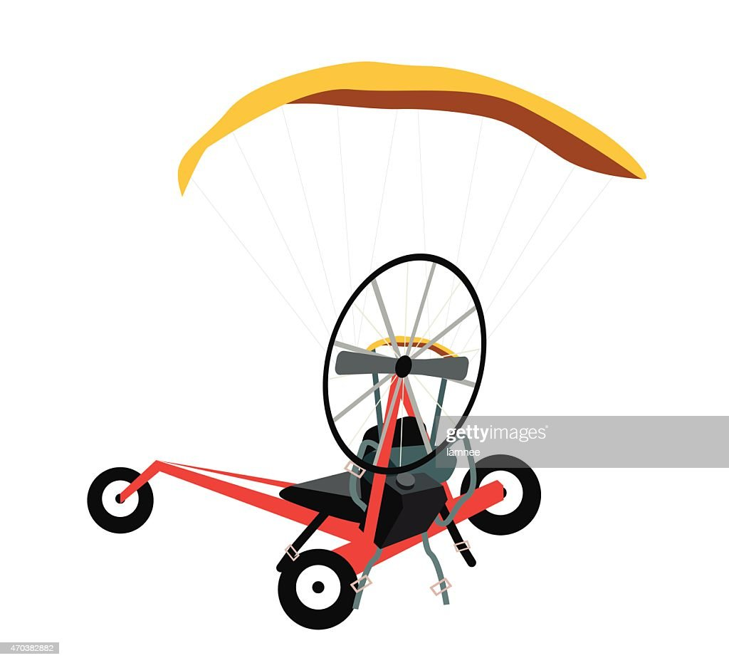 Paraglider or Paramotor on A White Background