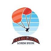 paragliding insignia, vector illustration
