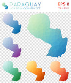 Paraguay geometric polygonal maps, mosaic style country collection.