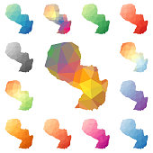 Paraguay geometric polygonal, mosaic style maps collection.