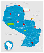 Paraguay Map and glossy icons on map