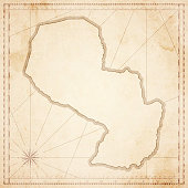 Paraguay map in retro vintage style - old textured paper