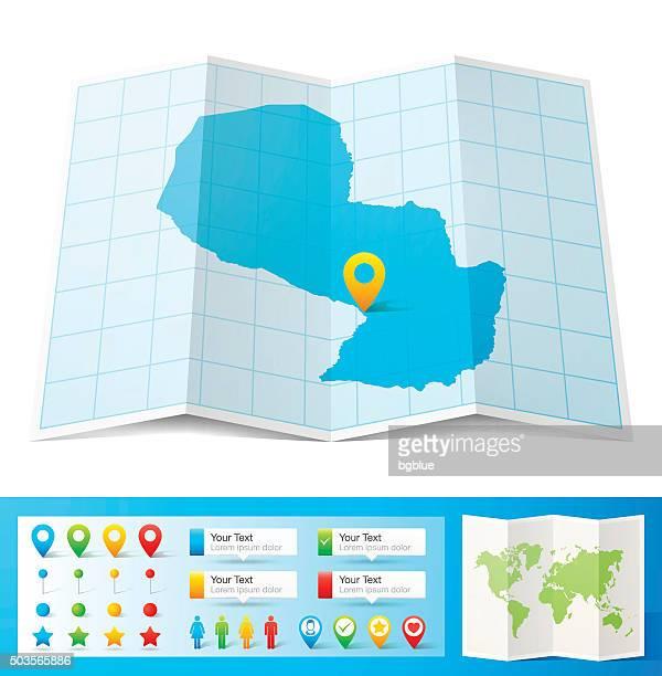 ilustraciones, imágenes clip art, dibujos animados e iconos de stock de paraguay mapa con pasadores de ubicación aislado sobre fondo blanco - asunción