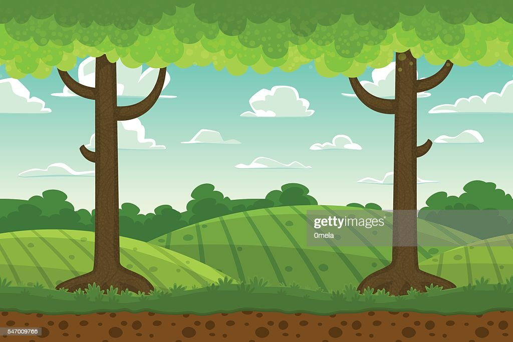 Parallax cartoon country horizontal landscape, nature vector illustration