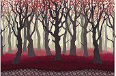 Parallax cartoon misterious forest landscape, nature vector illustration