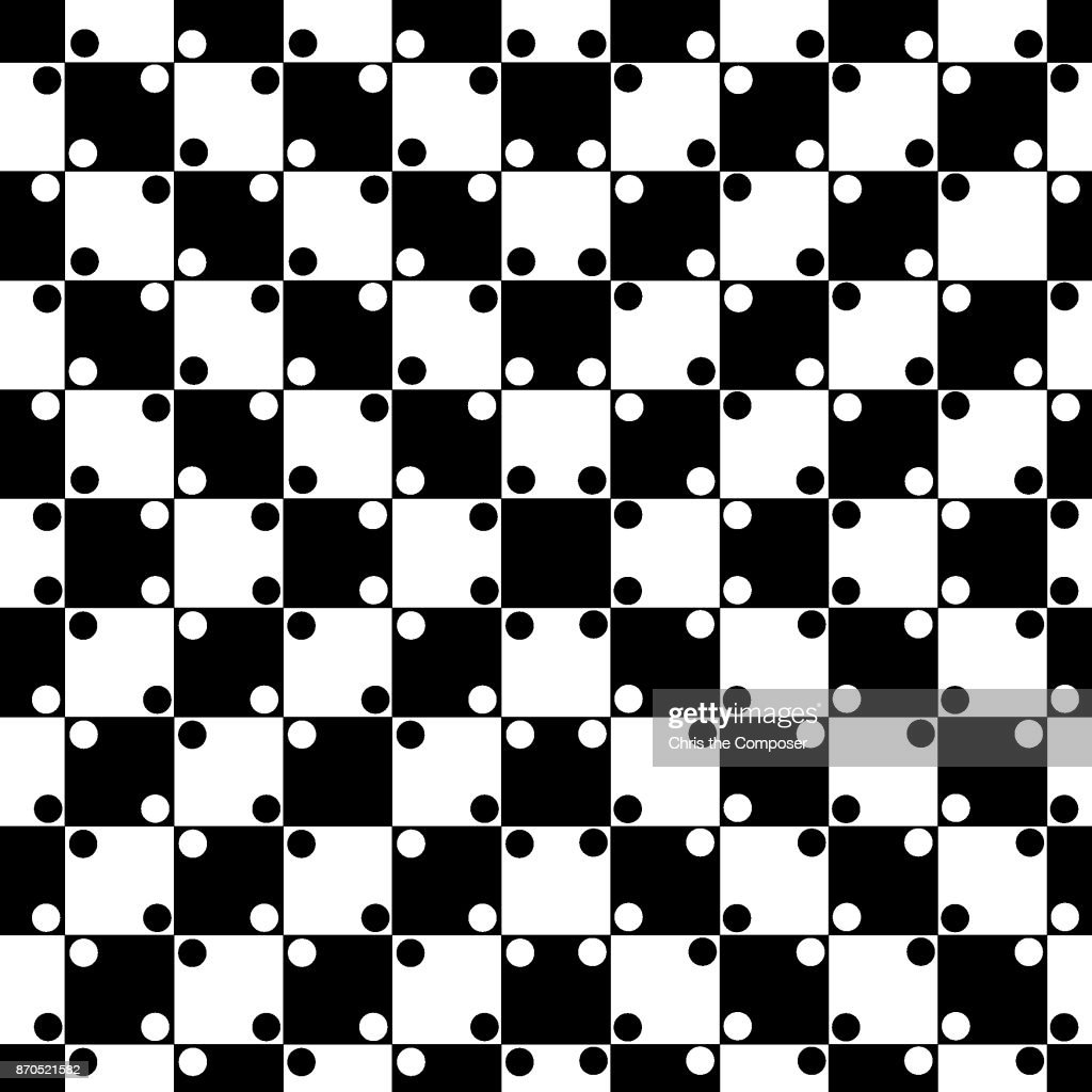 Parallel line optical illusion with a black & white checkered pattern - seamless