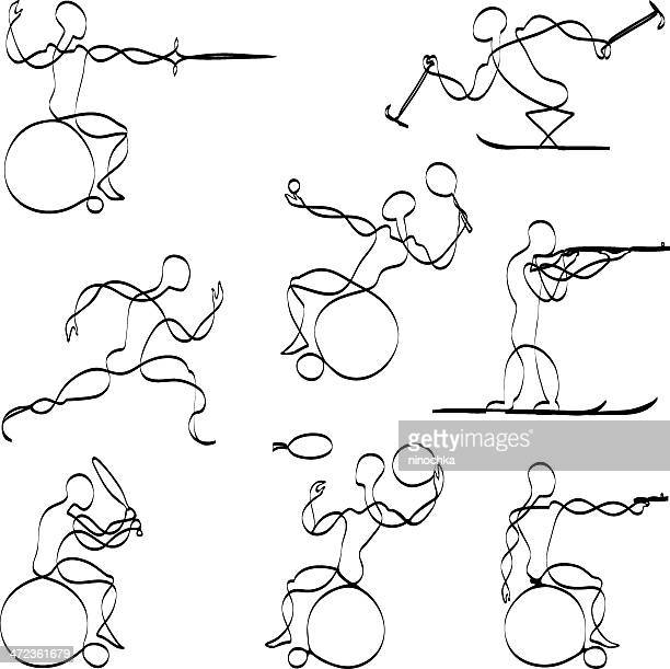 paralympic sports - taking a shot sport stock illustrations