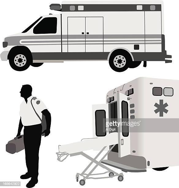 Paramedic Ambulance Vector Silhouette