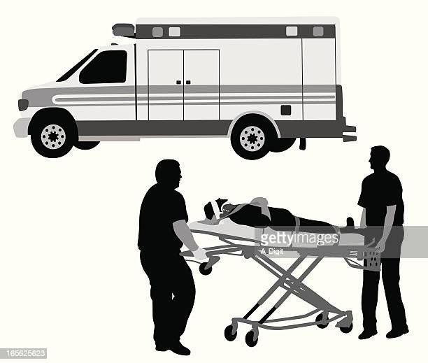 Paramedics And Patient Vector Silhouette