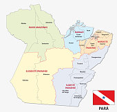 parana administrative and political map with flag