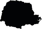 Parana black map on white background vector