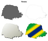 Parana blank outline map set