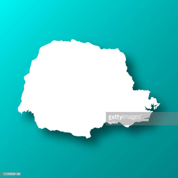 parana map on blue green background with shadow - parana state stock illustrations