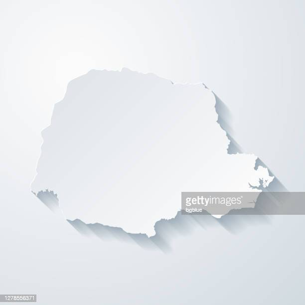 parana map with paper cut effect on blank background - parana state stock illustrations