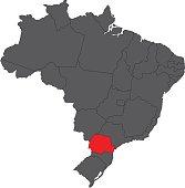 Parana red on gray Brazil map vector