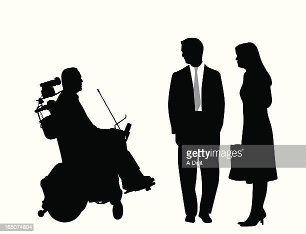 paraplegic and couple vector silhouette - paralysis stock illustrations, clip art, cartoons, & icons