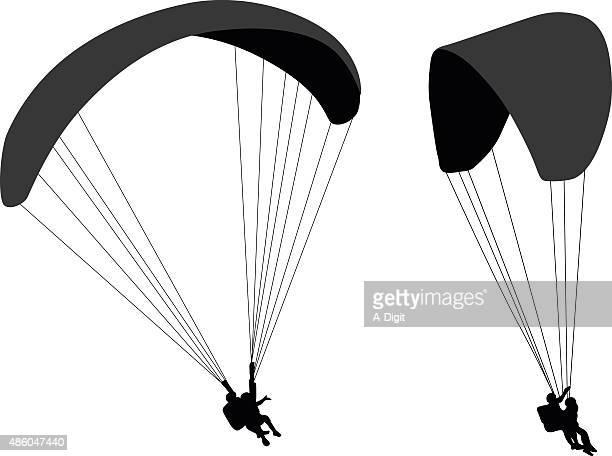 illustrations, cliparts, dessins animés et icônes de parachute ascensionnel silhouettes - saut en parachute