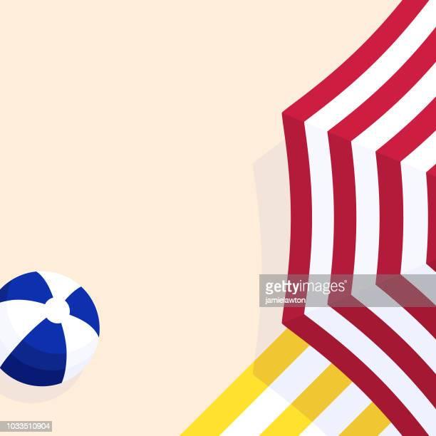 ilustraciones, imágenes clip art, dibujos animados e iconos de stock de fondo de playa sombrilla paraguas - pelota de playa