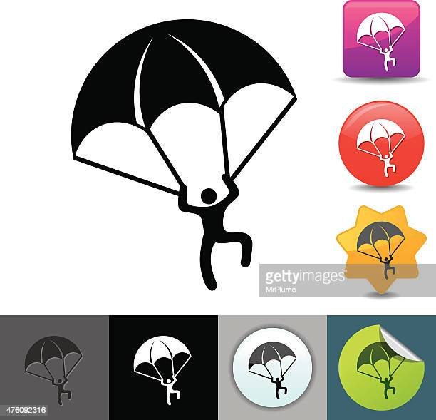 paratrooper icon | solicosi series - special forces stock illustrations, clip art, cartoons, & icons