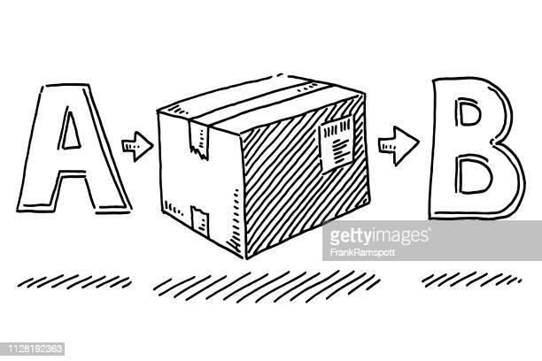 Paketzustellung von A zu B Zeichnung