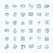 Parcel delivery service icon set.
