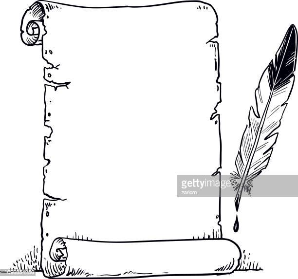 ilustraciones, imágenes clip art, dibujos animados e iconos de stock de pergamino y la pluma de la pluma. -vector - plumadeescribir