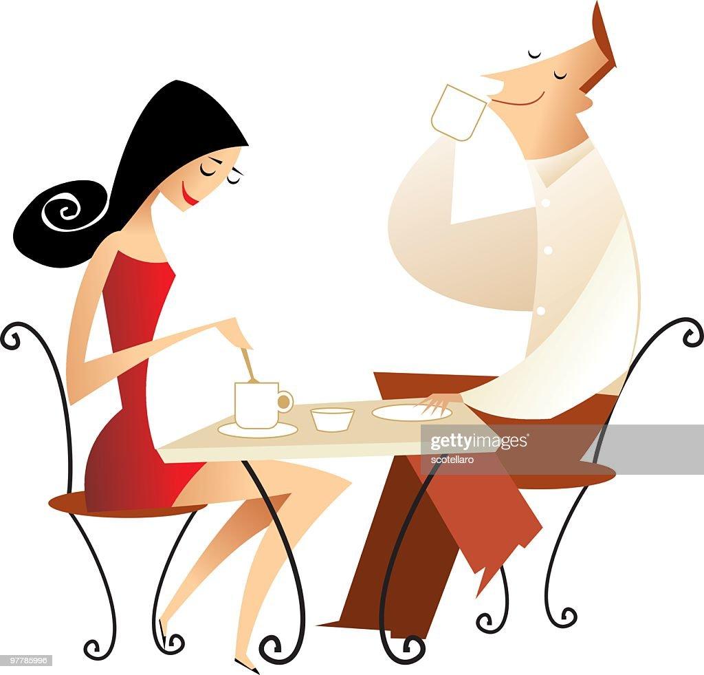 pareja tomando café : Ilustración de stock