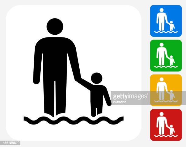 parent and child icon flat graphic design - wading stock illustrations