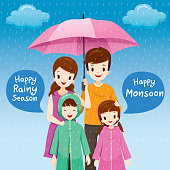 Parent And Children Under Umbrella Together In The Rain, Children Wearing Raincoat