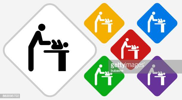 Parent Changing Baby Color Diamond Vector Icon
