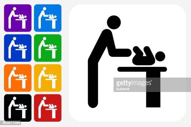 Parent Changing Baby Icon Square Button Set
