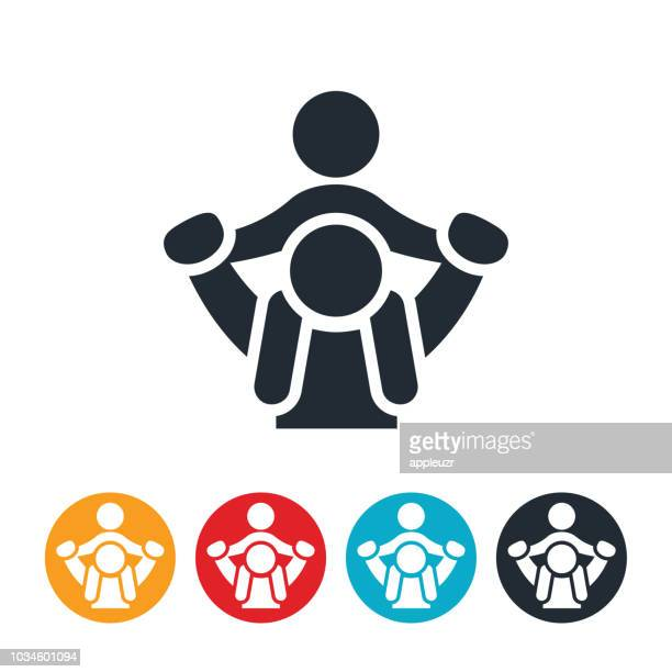 parent giving child piggyback ride icon - piggyback stock illustrations, clip art, cartoons, & icons