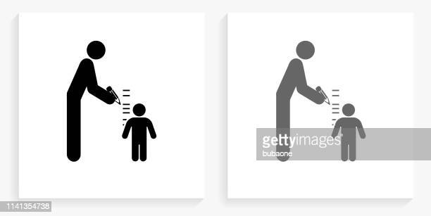 parent measuring child's height black and white square icon - high up stock illustrations