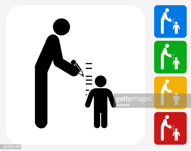 Parent Measuring Child's Height Icon Flat Graphic Design