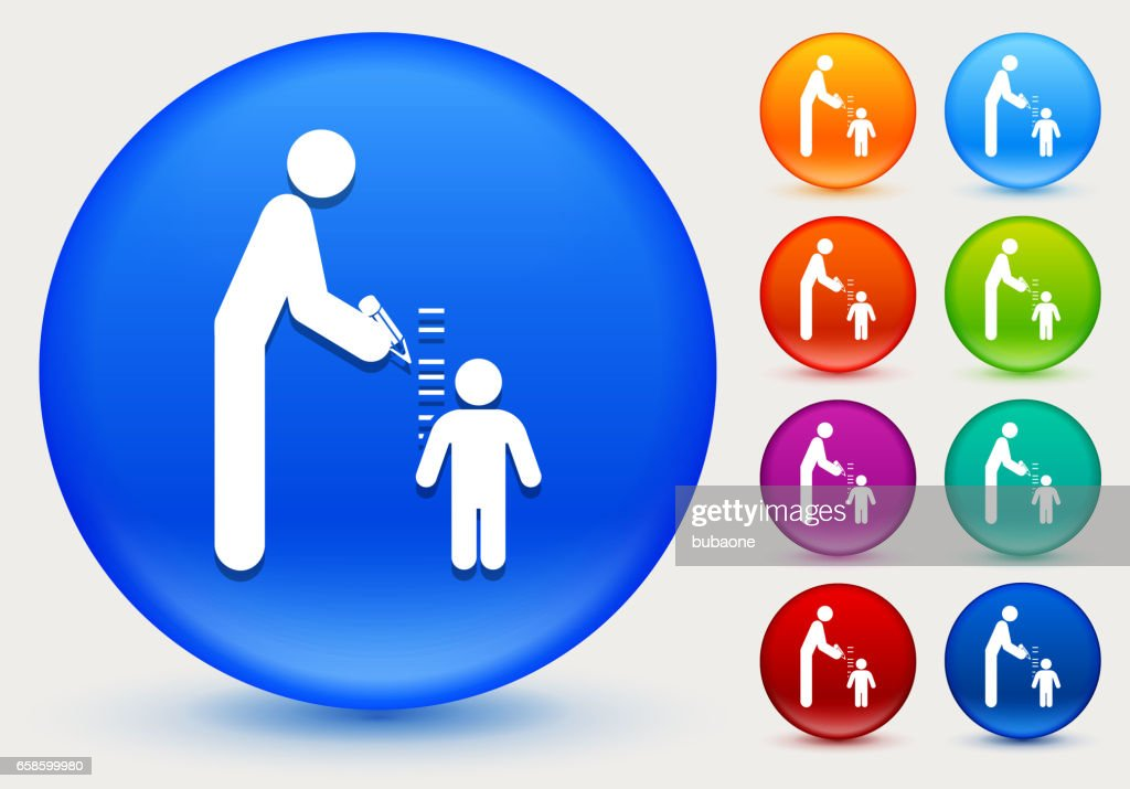 Parent Measuring Child's Height Icon on Shiny Color Circle Buttons : stock illustration