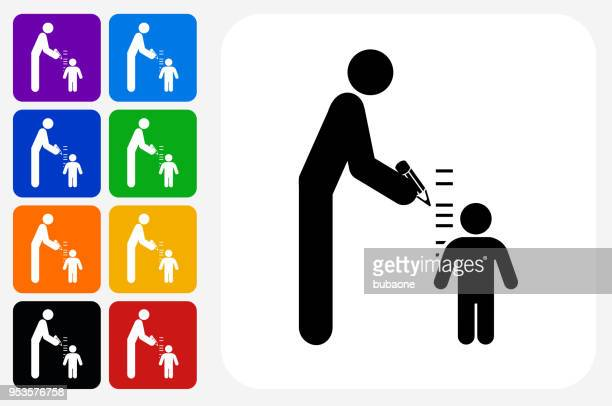 Parent Measuring Child's Height Icon Square Button Set